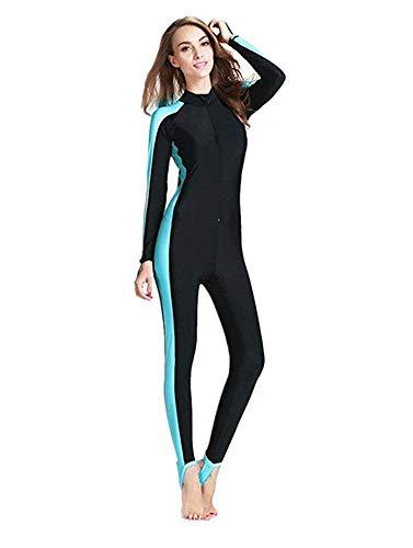 YEESAM Modest Swimwear - Taucheranzug Damen Herren Mädchen UV Schutzkleidung Sunsuit Ganzkörperansicht Badeanzug Overall Watersport (Int'l - 2XL, blau)