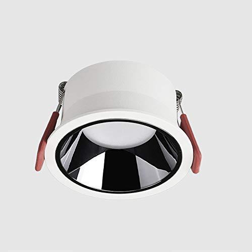 Kmnbgg Bisel Estrecho Antirreflejo Downlight Led Luz de Techo empotrada Negro Círculo Brillante Entrada de Pasillo Sala de Estar Hogar sin luz Principal Apertura 75