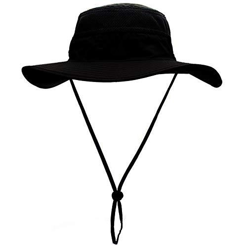 Sombreros de Pesca,Gorro de Pesca Gorra de Pesca Plegable Sombrero para el Sol de Secado rapido Boonie Hat, Negro o Gris