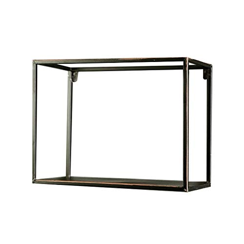 Floating Shelves Home Decoration Loft Retro Industrial Style Square Wrought Iron Creative Wall Shelf Entrance Wall Decorations Display Stand Black (Size : 40cm20cm30cm)