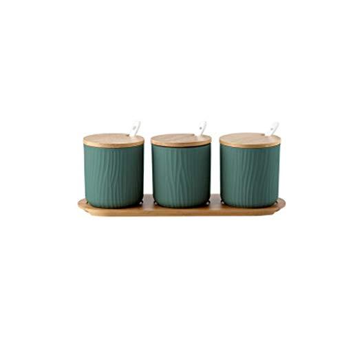 STRAW Botella Condimento de cerámica, latas Creativo Cubierta Redonda de cerámica Set Botella Tarro Azúcar Sal Condimento