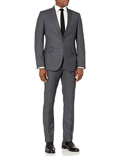 MY 'S Men 's 3 Piece Slim Fit Suit Set, 2 Button Blazer Jacket Vest Pants with Tie, Solid Wedding Dress Tux and Trousers Light Blue, X-Small