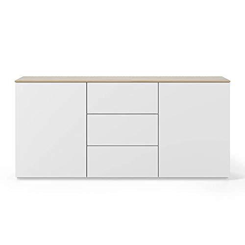 Buffets Design et élégants, Collection Join, signée TEMAHOME. - Join 180H1, Base Classique, Blanc Mat, Plateau en chêne