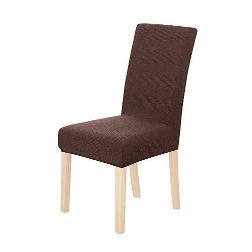 Amazon Brand – Umi Fundas para sillas de Comedor elásticas Suave diseño Ondas Marrón(Juego de 6)
