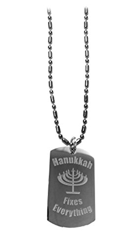 Hanukkah Fixes Everything - Luggage Metal Chain Necklace Military Dog Tag