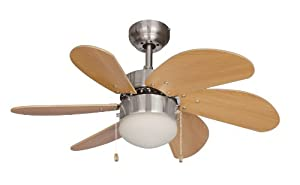 Hardware House 10-4852 Dual Mount, 6 Beechwood Blades Ceiling fan...