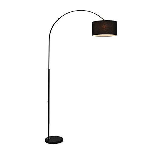 Nordic gebogen ijzeren vloerlamp - moderne minimalistische LED zwarte stof vissen sofa lezen vloerlicht American village woonkamer slaapkamer studie vloerlampen (knop, dimmer)