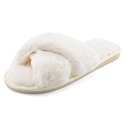 MASOCIO Zapatillas Casa Mujer Invierno Estar Andar Pantuflas de Peluche Felpa Mullidas Calentitas Slippers Antideslizante Talla 40 41 Blanco
