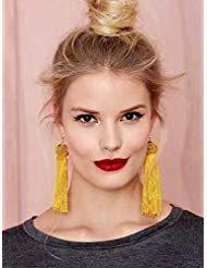 Missgrace Women Vintage Retro Bohemia Earring Handmade Tassel Cocktail Earring Carnival Jewelry Women Dangle Halloween (Yellow)