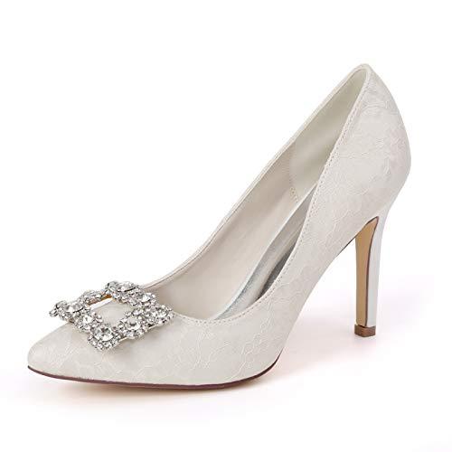 LGYKUMEG Spitzer Zehenbereich Satin Damen Mid High Heel Schuhe Braut Brautjungfer Party Mode Hochzeit Pumps Stiletto 9.5cm,01,EU43
