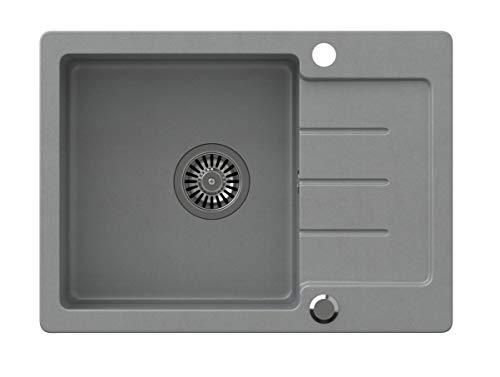 VBChome Spülbecken Grau 60 x 44 cm Granit Einzelbecken Einbauspüle gesprenkelt reversibel Verbundspüle + Siphon Waschbecken