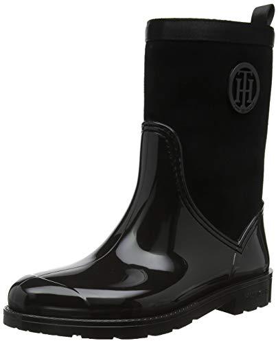 Tommy Hilfiger Damen Warmlined Suede RAIN Boot Gummistiefel, Schwarz (Black 990), 41 EU