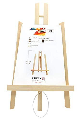 Chely Intermarket Caballete sobremesa pintura 30 cm  Para uso inmediato   Especial para la presentación de lienzos y marcos. Ideal para Eventos, Exhibiciones y Convenciones(56817-30-0,10)