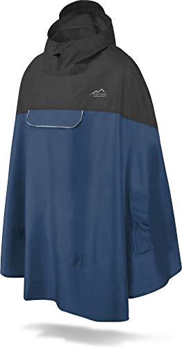 normani Unisex Regenponcho - Wind und Wasserdicht mit Bauchtasche, 3M Refelktoren und seitlichen Eingriffen Farbe Schwarz/Navy Größe L