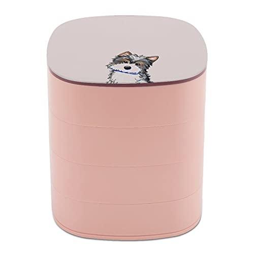 Rotate The Jewelry Box Print Funny Cute Dog Animal Dibujado a mano Multi-capa diseño joyería organizador caja con espejo para mujeres niñas y niños