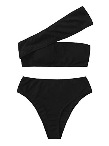 SweatyRocks Women's Bathing Suits One Shoulder Ribbed Bikini Set High Waisted Swimsuits Black Medium