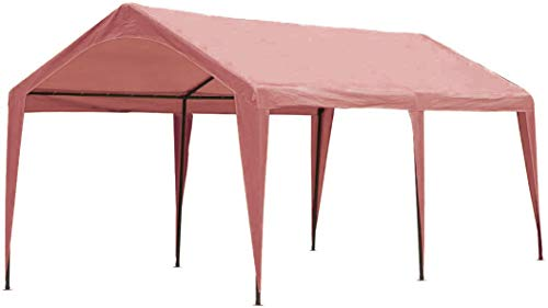 Abba Patio 10 x 20 ft Carport Canopy Fabric Pole Skirts Design Heavy Duty Car Tent Portable Garage Shelter for Party, Wedding, Garden, Boat, Outdoor Storage Shed with 6 Steel Legs, Pink