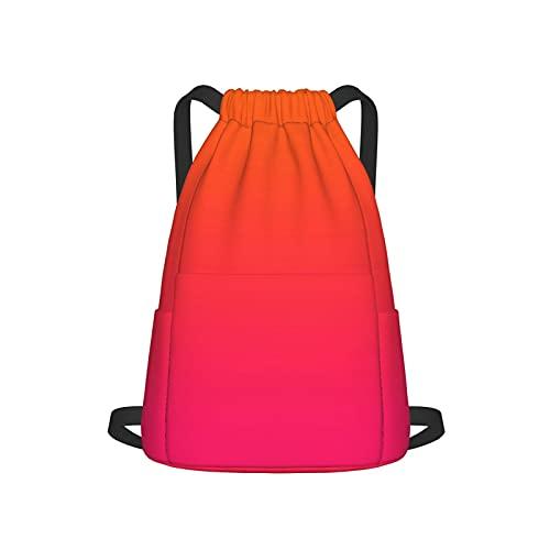 Mochila con cordón para deporte, gimnasio, fitness, color rosa y naranja, unisex, con bolsillo lateral para gimnasio, compras, deporte, yoga
