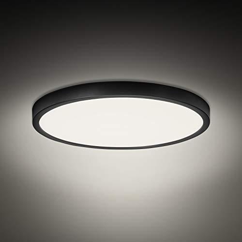 Combuh Plafón LED 28W 2520LM Blanco Natural 4500K Negro Delgado Lampara de Techo para Baño Dormitorios Salones Cocina Oficina Ø30cm
