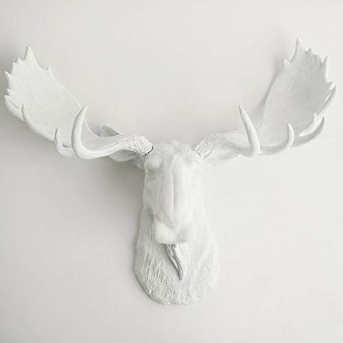 White Faux Taxidermy Modern Moose Home Decor 'The Edmonton' Hand-Painted Country Chic Moose Head & Antlers, Modern Farmhouse Wall Decor - Contemporary Rustic Art