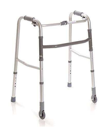 Andador Caminador Plegable para Ancianos, regulable en altura con 2 puntas y 2 ruedas fijas … 🔥