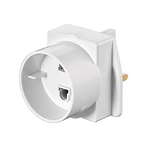 Goobay NK SET Euro - UK Fuse adaptador de enchufe eléctrico Tipo C (Europlug) Tipo D (RU) Blanco - Adaptador para enchufe (Tipo C (Europlug), Tipo D (RU), Blanco, Male connector / Female connector)