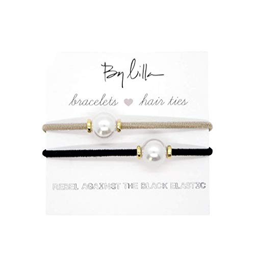 By Lilla Halo Elastic Hair Ties and Bracelets   Set of Two Hair Tie-Bracelets   Hair Accessories for Women   No Crease Hair Ties & Women's Bracelets   Gold (Black/Starfish)