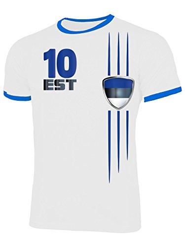 Estland 4696 Fussball Fanshirt Fan Shirt Tshirt Fanartikel Artikel Männer Herren Ringer T-Shirts Weiss Blau L