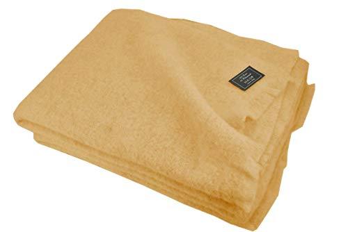 Mohair - Manta ligera de lana pura para cama de matrimonio y individual, cálida y natural, mostaza, individual