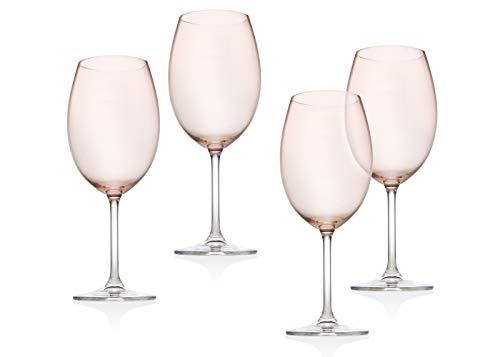 Godinger Goblet Wine Glass Beverage Cup - Meridian Blush, 12oz - Set of 4