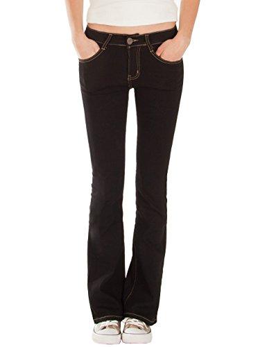 Fraternel Damen Jeans Hose Bootcut normal Waist Stretch Schwarz XXL