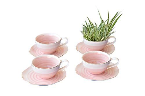 LA VITA VIVA set van 4 koffiekopjes met schotel Bonbon roze