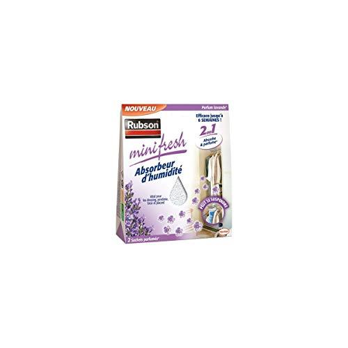 Rubson Minifresh Absorbeur d'Humidité en sachet, spécial placards, tiroirs, penderies, Absorbeur d'odeur 2 sachets parfum lavande de 50 g