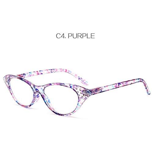 Cat Eye Leesbril Dames Diamond Brillen Verziend met Dioptrie voor Vrouw # 11, 400, Paars