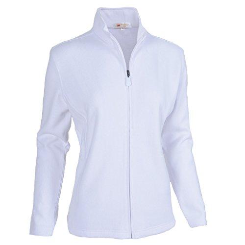 Monterey Club Women's Classic French Rib Zip-Up Jacket #2934 (White, Medium)
