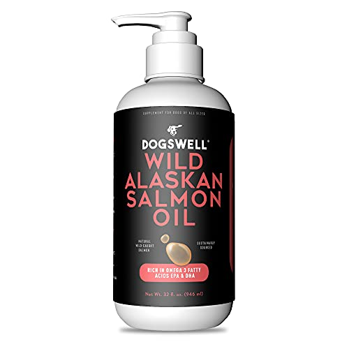 DOGSWELL Wild Alaskan Salmon Oil, 32 Ounces - Omega 3 Supplements for Dogs