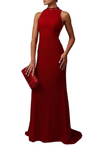 Mascara Red MC181474 Glitter & Stone hoge hals jurk