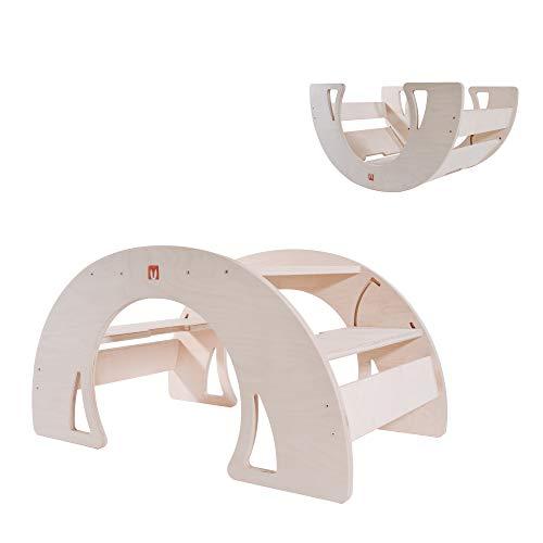 Bianconiglio Kids ® DONDO Rocker Table all Natural, Tavolo Multifunzione Bambini in Legno Naturale, Rocker Board e Ponte Pikler
