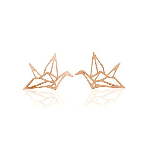 Ohrstecker Origami Crane 18karat rose vergoldet