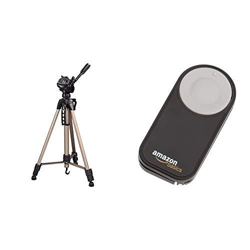 Hama Kamera Stativ Star 61 (Leichtes Dreibeinstativ mit 3-Wege-Kopf, Fotostativ mit 60-153cm Höhe, Tripod inkl. Tragetasche, Kamerastativ) Champagner & AmazonBasics IR-Fernauslöser