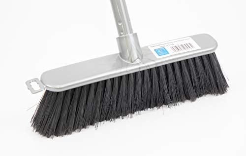 Silver Indoor Soft Sweeping Brush Head and Handle - Ideal Kitchen Broom Floor Sweeper with Long Screw Fit Handle and Soft Flagged Bristles