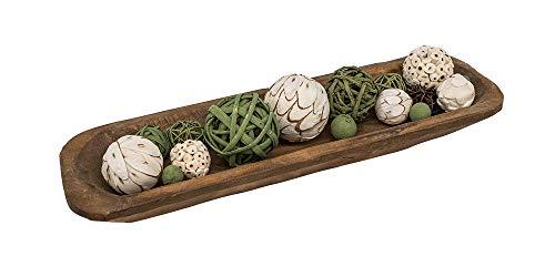 RELODECOR Long Wooden Dough Bowls For Decor Centerpiece, Hand Carved Rustic Wood Dough Bowl Baguette Bowl