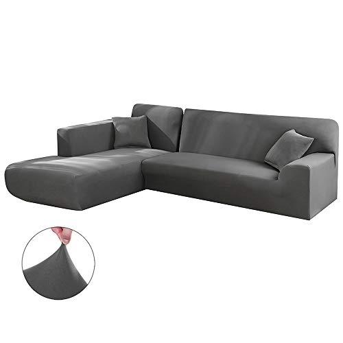 Relax love Funda de Sofá Chaise Longue Brazo Izquierda Elástica Modelo,diseñada para una combinación de 2 Piezas,TAMAÑO Desde 190 a 300cm (Gris, 190-230cm+190-230cm)