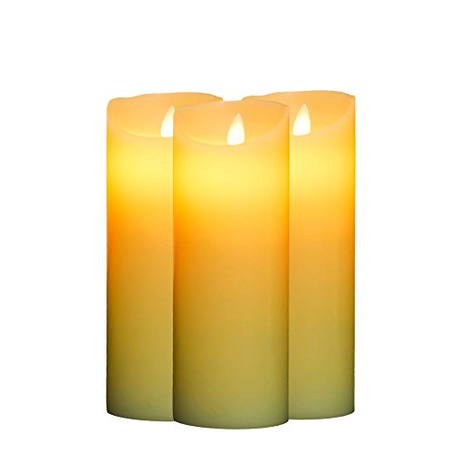 OxoxO Flameless Flickering LED Pillar Candles Realistic Dancing Light Battery Operated Flickering Real Wax Candle Set 8-Inch (Pack of 3)