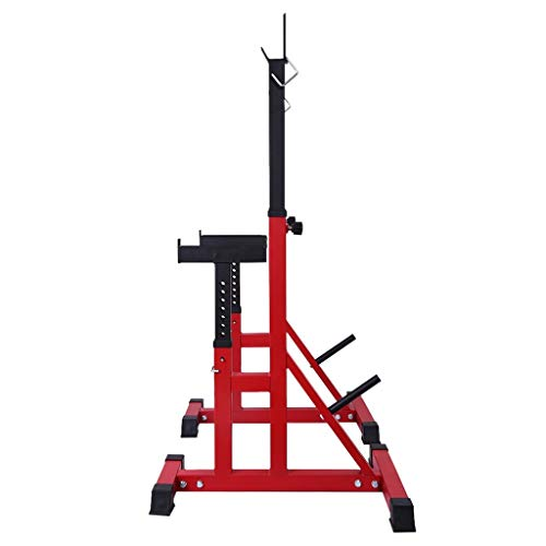 MINIKID Adjustable Dumbbell Racks, Home G-ym Multifunction Squat Rack Stands Weight Lifting Bench Press Barbell Rack Pull Up Bar Stands for Indoor Fitness Lifting Frame【US Fast Shipment】 (Red)
