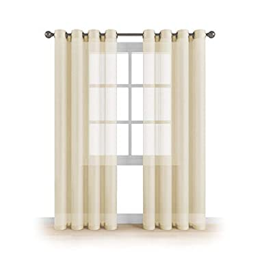 """Grommet Semi Sheer Luxury 2 Panels Total Wide 108"""" (Each Curtain 54""""Wx84""""L) Window Home Decor and Upscale Design Light Penetrating & Privacy Soft Durable Polyester Easy Upkeep (Butter Cream)"""