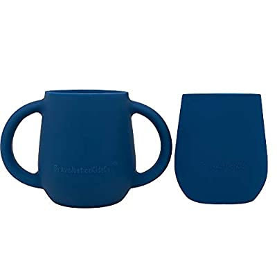BraveJusticeKidsCo. | Itty Bitty Transitional Training Silicone Baby Drinking Cups (2 pack) (Blue Fusion)