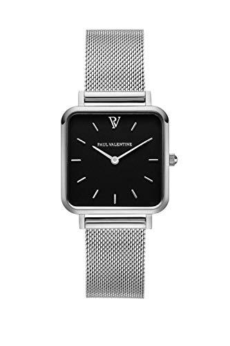 Paul Valentine - Damenuhr Glossyedge Uhr aus Edelstahl mit Mesh Armband Edle Damen Uhr mit japanischem Quarzwerk - Armbanduhr für Damen (Silver Black Mesh)
