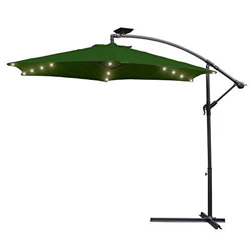 Hengda Sonnenschirm 3m mit kurbel und Solarbetriebene Warmweiß LED UV Schutz 40+ - Alu Balkon Terrassenschirm Marktschirm Gartenschirm