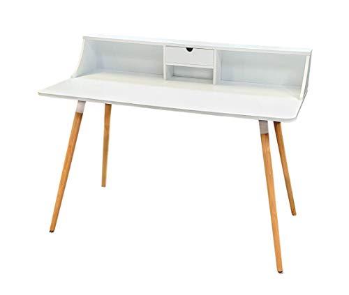 osoltus Schreibtisch Computertisch weiß mit Ablage 120cm